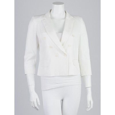 Isabel Marant Etoile White Cotton Blend Cropped Blazer Jacket Size 8/40