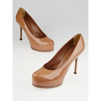 Yves Saint Laurent Nude Patent Leather Tribtoo 80 Pumps Size 11.5/42