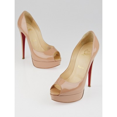 Christian Louboutin Nude Patent Leather Banana 140 Peep Toe Pumps Size 6.5/37
