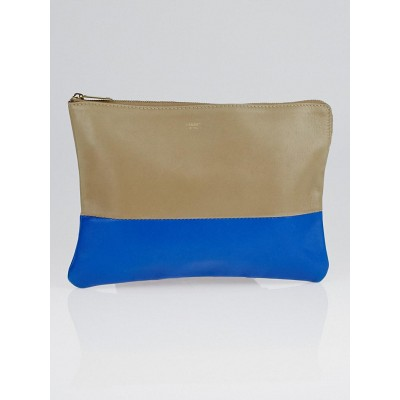 Celine Taupe/Blue Leather Bi-Color Clutch Pouch Bag