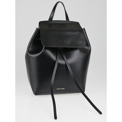 Mansur Gavriel Black/Oro Leather Mini Backpack Bag