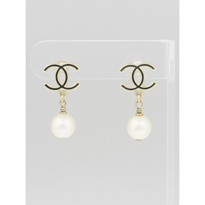 Chanel Gold/Black CC Glass Pearl Drop Earrings