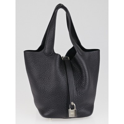 Hermes Black Clemence Leather Picton Lock PM Bag