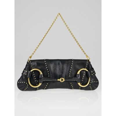Gucci Black Snakeskin Studded Horsebit Chain Clutch Bag
