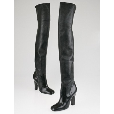 Yves Saint Laurent Black Leather Over-the-Knee Joan Boots Size 8.5/39