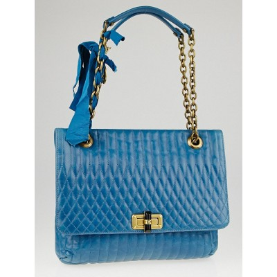 Lanvin Blue Quilted Leather Happy Medium Bag