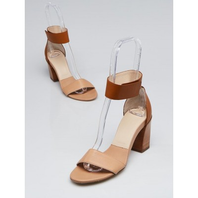 Chloe Nude Leather Ankle Strap Sandals Size 7/37.5