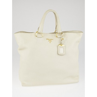 Prada White Vitello Daino Leather Large Shopping Tote Bag BN1713