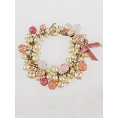 Chanel Pink Bead and Glass Pearl CC Bracelet