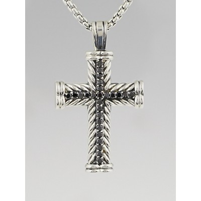 David Yurman Sterling Silver and Black Diamond Chevron Cross Necklace