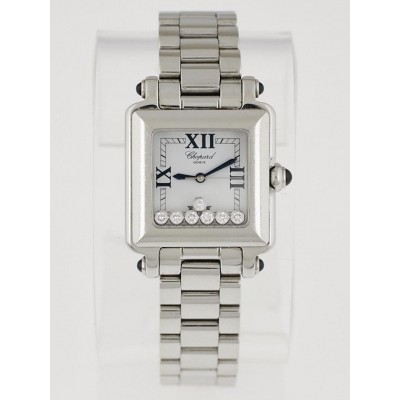 Chopard Stainless Steel Happy Sport Floating Diamonds Square Watch