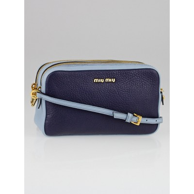 Miu Miu Blue Two-Tone Madras Leather Crossbody Bag