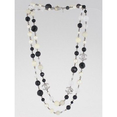 Chanel Black Bead and Glass Pearl CC Necklace
