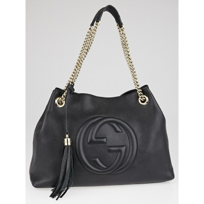 Gucci Black Pebbled Calfskin Leather Soho Chain Tote Bag