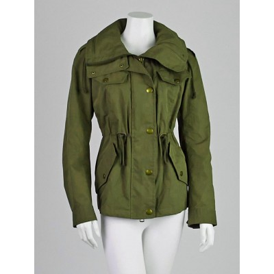 Burberry Brit Olive Green Drape Anorak Jacket Size 2