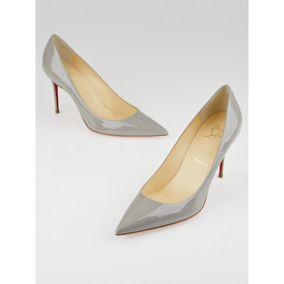 Christian Louboutin Grey Patent Leather Decollete 554 85 Pumps Size 6.5/37