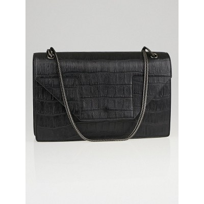 Saint Laurent Black Croc-Embossed Calfskin Leather Betty Bag