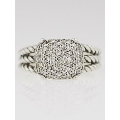 David Yurman Sterling Silver and Diamond Petite Wheaton Ring Size 6