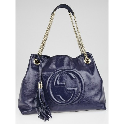 Gucci Purple Patent Leather Soho Chain Tote Bag