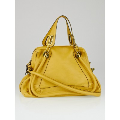 Chloe Yellow Calfskin Leather Medium Paraty Bag