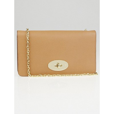 Mulberry Light Brown Pebbled Leather Wallet on Chain Evening Bag