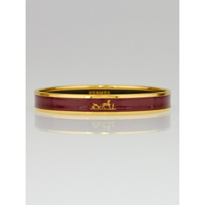 Hermes Red Enamel Gold Plated Caleche Narrow Bracelet Size 65