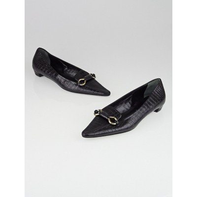 Prada Black Embossed Leather Pointed Toe Flats Size 8.5/39