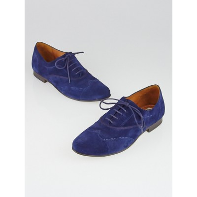 Lanvin Blue Marine Suede Stitched Wingtip Oxford Flats Size 9/39.5
