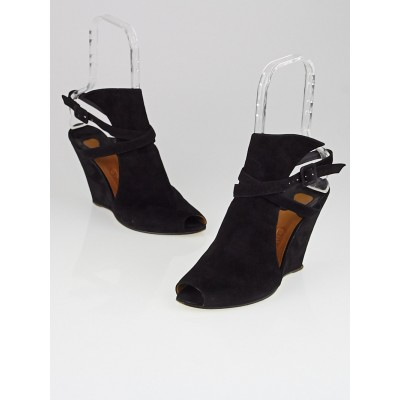 Chloe Black Suede Open Toe Ankle Strap Wedges Size 9/39.5