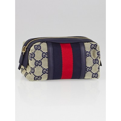 Gucci Blue/Red GG Canvas Vintage Web Cosmetic Bag