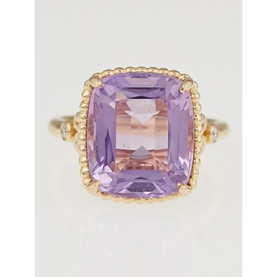 Tiffany & Co. 18k Rose Gold Amethyst and Diamond Sparklers Ring Size 6