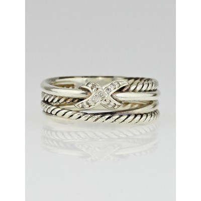 David Yurman Sterling Silver and Diamonds Cable X Ring Size 6.5