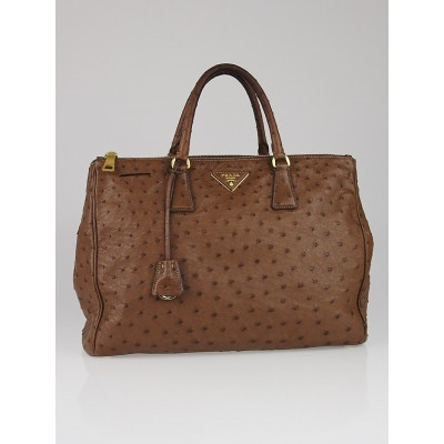 Prada Brown Ostrich Double Zip Large Tote Bag BN1786