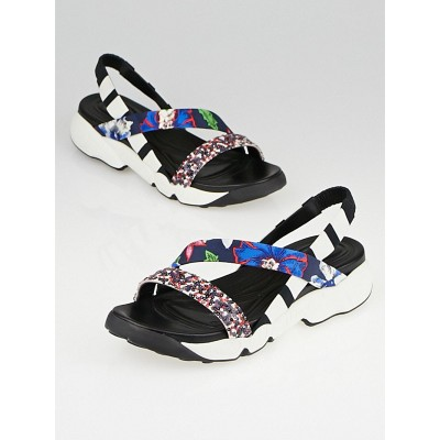 Christian Dior Multicolor Fabric/Leather/Sequin Urban Flat Sandals Size 7.5/38