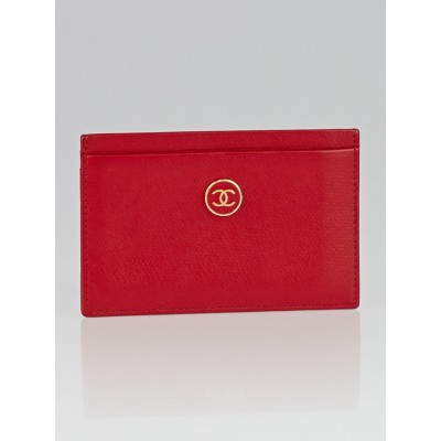 Chanel Red Leather CC Card Holder