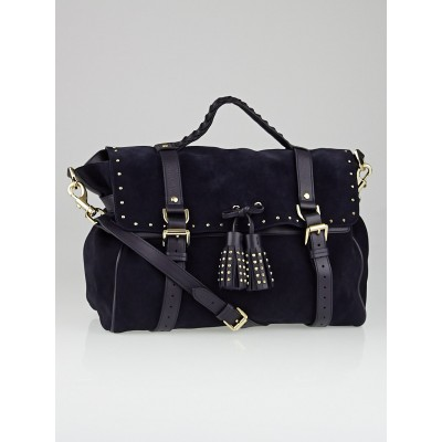 Mulberry Ink Blue Suede and Leather Studded Tassel Oversized Alexa Bag