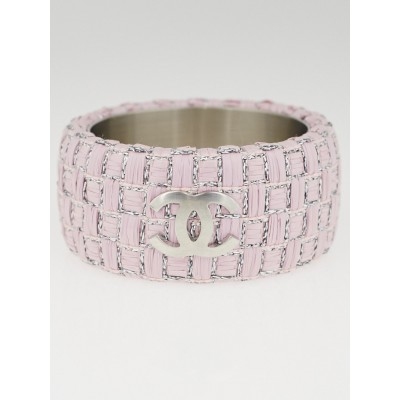 Chanel Pink Woven Raffia CC Extra Wide Bangle Bracelet Size M