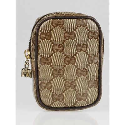 Gucci Beige/Ebony GG Crystal Canvas Accessories Pouch