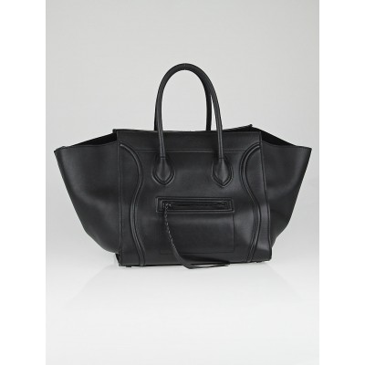 Celine Black Calfskin Leather Small Phantom Luggage Tote Bag