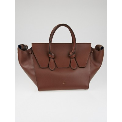 Celine Chocolate Natural Calfskin Leather Small Tie Tote Bag
