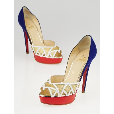 Christian Louboutin White Leather/Glitter/Suede Ekaia 140 Peep Toe Pumps Size 6/36.5