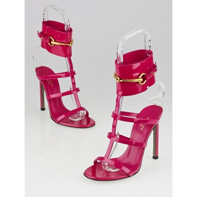 Gucci Blossom Patent Leather Ursula Horsebit Cage Sandals Size 5/35.5
