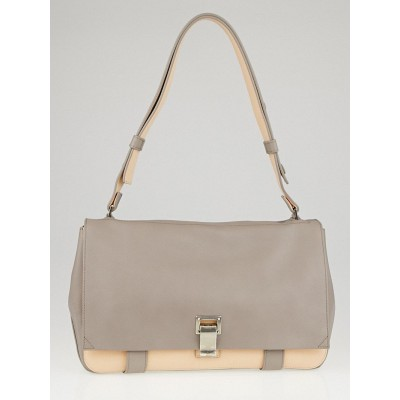 Proenza Schouler Grey/Pink Leather Two-Tone Courier Bag
