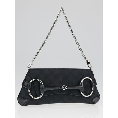 Gucci Black GG Canvas Horsebit Clutch Bag
