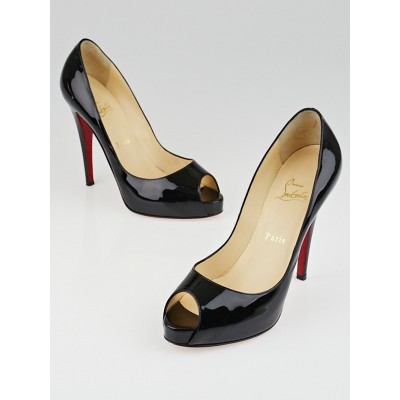 Christian Louboutin Black Patent Leather Very Prive 120 Peep Toe Pumps Size 9/39.5