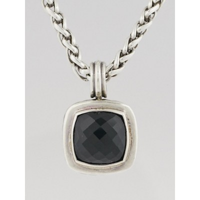 David Yurman Sterling Silver Wheat Chain and Black Onyx Enhancer Pendant