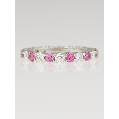 Tiffany & Co. 3mm Platinum with Pink Sapphires and Diamonds Shared-Setting Band Ring Size 9