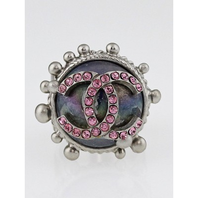 Chanel Silvertone Metal and Pink Crystal CC Ring Size 6
