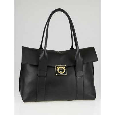 Salvatore Ferragamo Black Leather Medium Sookie Satchel Bag