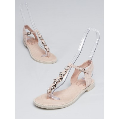 Chanel Light Pink Quilted Leather and Chain CC T-Strap Sandals Size 8.5/39